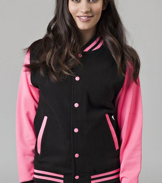 Black - Electric Pink Electric Varsity Baseball Collegetakki Painatuksella