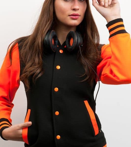 Black - Electric Orange Electric Varsity Baseball Collegetakki Painatuksella