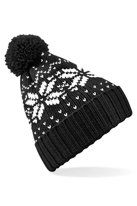 Black - White Fair Isle Snowstar Pipo Painatuksella