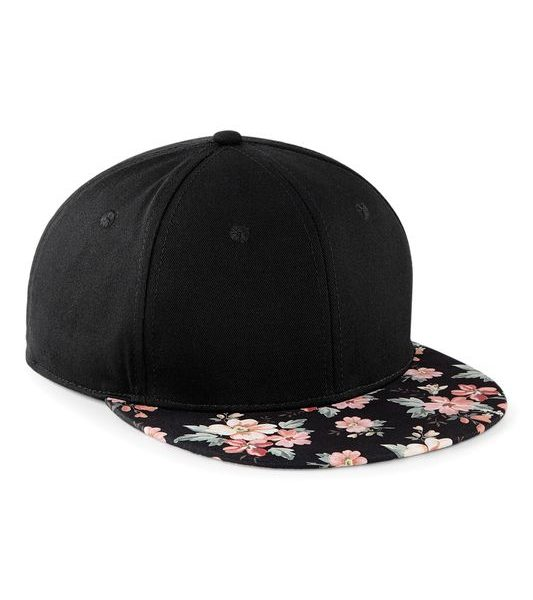 Black - Faded Floral Graphic-lippa Snapback Lippis Painatuksella