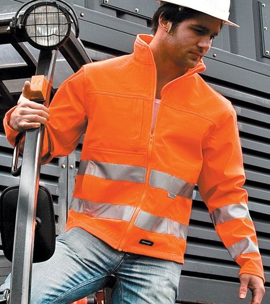 Orange High-viz Soft Shell Painatuksella