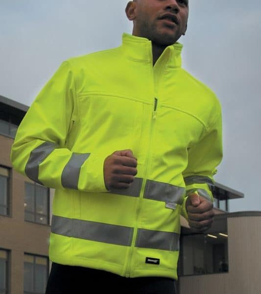 Yellow High-viz Soft Shell Painatuksella
