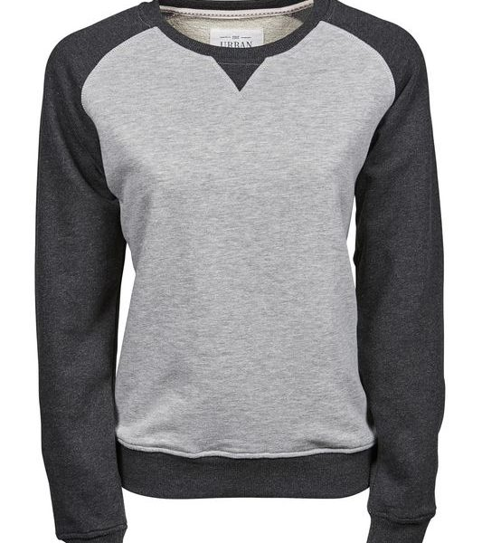 Heather Grey - Black Melange Naisten Urban Two-tone College Painatuksella
