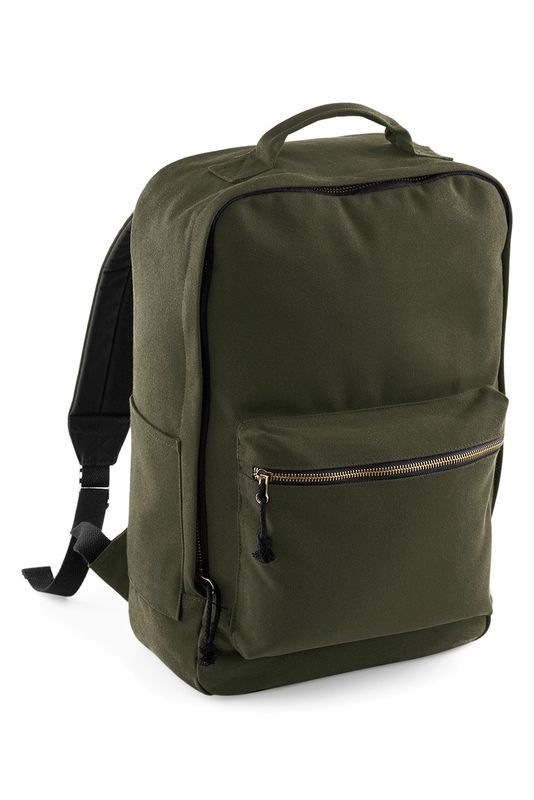 Military Green Oakdale Canvas Reppu Painatuksella