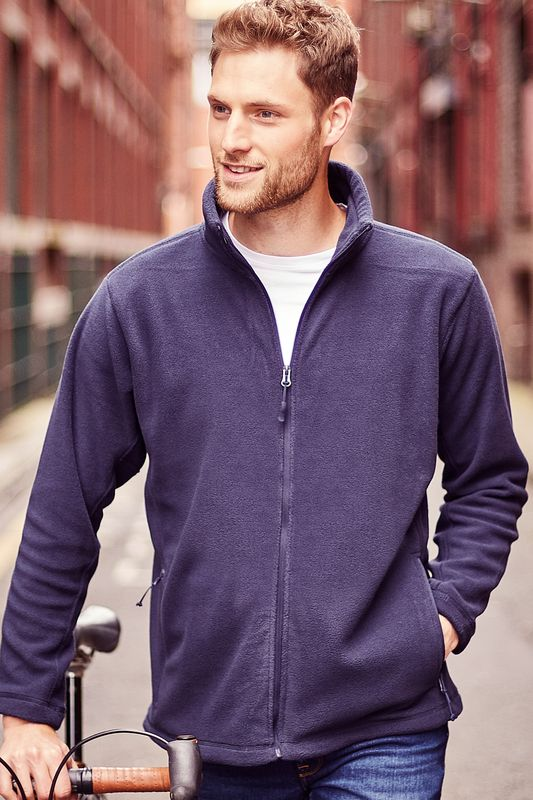 French Navy Outdoor Fleece Painatuksella