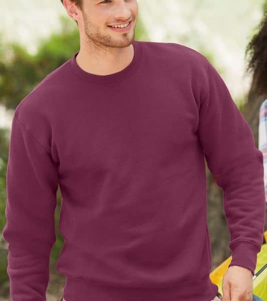 Burgundy Premium Set-in Sweat College Painatuksella