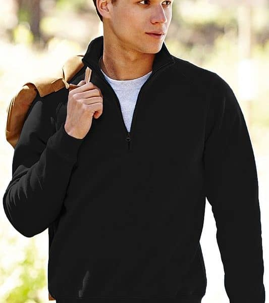 Black Premium Zip Neck College Painatuksella