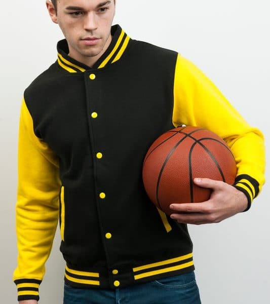 Black - Sun Yellow Varsity Baseball Collegetakki Painatuksella