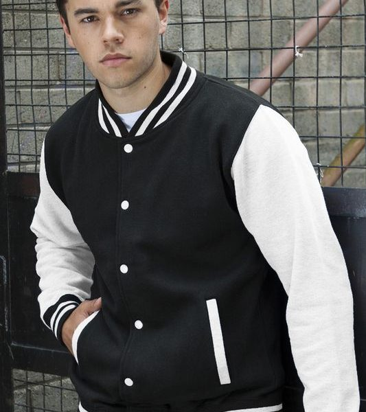 Black - White Varsity Baseball Collegetakki Painatuksella