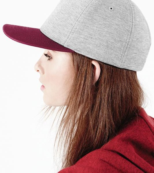 Heather grey - Burgundy Varsity Snapback Trikoolippis Painatuksella